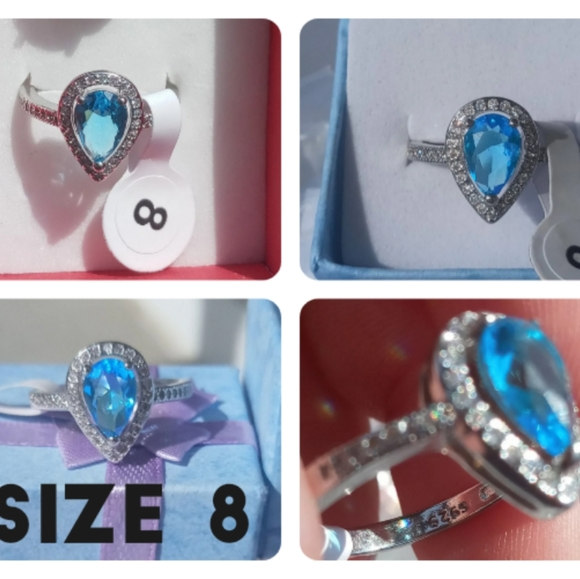 CLEARANCE sterling silver teardrop ring size 8